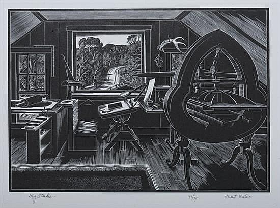 HERBERT WATERS (American, b. 1903). MY STUDIO, signed, titled and numbered 49/75 in pencil lower margin. Wood engraving.