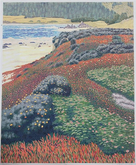 GORDON MORTENSEN (American, b. 1938). MONASTERY BEACH, signed, dated '86, titled and numbered 44/130 in pencil lower margin. Color woo