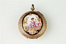 LADY'S CONTINENTAL 14K YELLOW GOLD AND MULTI-COLOR ENAMEL OPEN-FACE PENDANT WATCH,