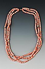 TRIPLE-STRAND ANGEL SKIN CORAL AND GOLD BEAD NECKLACE,