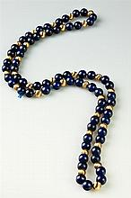 ENDLESS-STRAND MATCHED LAPIS LAZULI AND YELLOW GOLD BEAD NECKLACE,