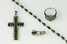 FOUR PIECES STERLING-MOUNTED GREEN GEMSTONE JEWELRY , - Ring, size 7. Cross, L: 1 5/8 in.