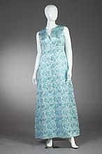 CUSTOM-MADE BLUE BROCADE EVENING GOWN, 1960s.
