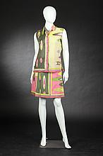 TWO-PIECE PUCCI COTTON ENSEMBLE, Circa 1968, size 12; retailed Saks Fifth Avenue; signed in the fabric.