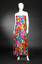 MALCOLM STARR SILK EVENING DRESS, 1960s; retailed Pasternak, Washington, DC.