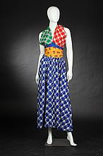 FLORAL PATCHWORK HALTER DRESS, 1970s; size 7.