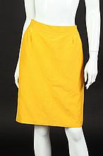 YVES SAINT LAURENT RIVE GAUCHE LEMON YELLOW SILK SKIRT, 1980s; size 44.