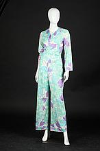 EMILIO PUCCI FOR FORMFIT ROGERS NYLON JUMPSUIT, 1970s, size 12; signed in the fabric.