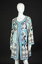 EMILIO PUCCI SILK SPLIT TUNIC, Early 1970s, size 12; signed in the fabric.