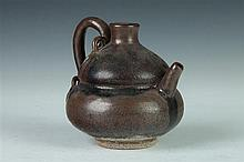 CHINESE DOUBLE GOURD STONEWARE EWER. - 5 in. high.