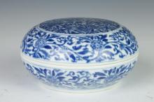 CHINESE BLUE AND WHITE PORCELAIN BOX, Kangxi underglazed blue mark. - 6 in. diam.