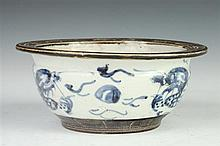 CHINESE BLUE AND WHITE PORCELAIN DRAGON BOWL, 19th Century. - 7 1/8 in. diam.