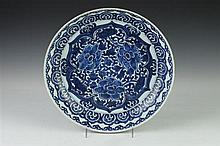 CHINESE BLUE AND WHITE PORCELAIN SHALLOW BOWL, 18th Century. - 13 3/8 in. diam.