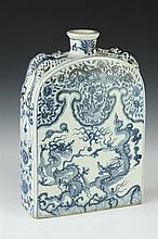 CHINESE BLUE AND WHITE PORCELAIN DRAGON AND PHOENIX PILGRIM FLASK, - 15 in. high.