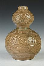 CHINESE CELADON PORCELAIN DOUBLE GOURD VASE, - 8 in. high.