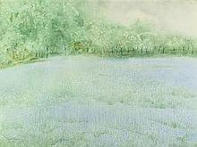 LEE ELYSE CROUSE WEISS (American, b. 1928). SPRING FIELD, signed and dated '74 lower left. Watercolor.