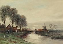 GEORGE LEONARD HERDLE (American, 1868-1922). DUTCH LANDSCAPE, signed lower left. Watercolor.