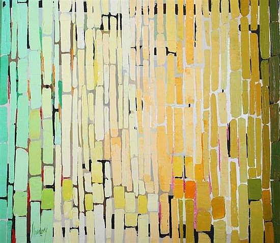 ANDREW SHUNNEY (American, 1916-1979). GREEN AND YELLOW BLOCKS, signed lower left. Oil on canvas.