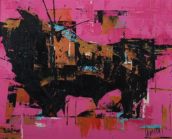 ANDREW SHUNNEY (American, 1916-1979). THE BULL, signed lower right. Oil on canvas.