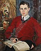 LOUISE PERSHING (American, b. 1904). PORTRAIT OF MAN IN RED SWEATER WITH PIPE AND BOOK, signed lower right. Oil on canvas., Louise Pershing, Click for value