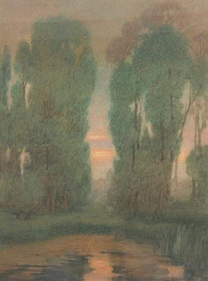 MAUD M. MASON (American, 1867-1956). SUNSET OVER GARDENS, pastel.