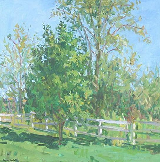 EUGENE LEAKE (American, 1911-2005). FENCE LINE, signed and dated 77 lower left. Also signed, dated 1977, and titled on reverse. Oil on