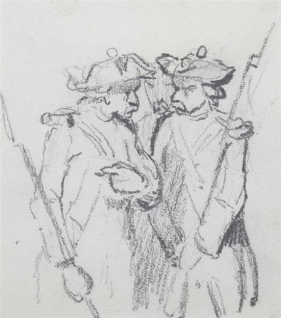 TONY JOHANNOT (French, 1803-1852). SOLDIERS IN DISCUSSION, pencil on paper.