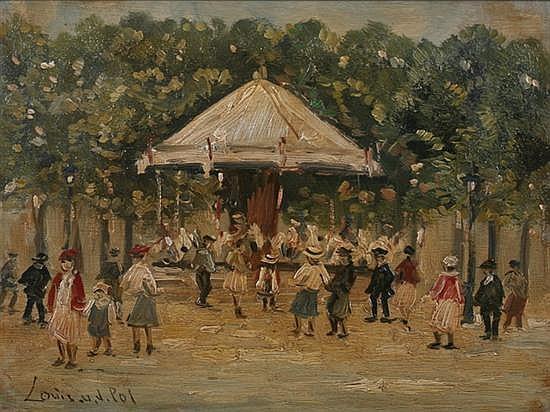 LOUIS VAN DER POL (Dutch, 1896-1982). MERRY GO ROUND, signed lower left. Oil on panel.