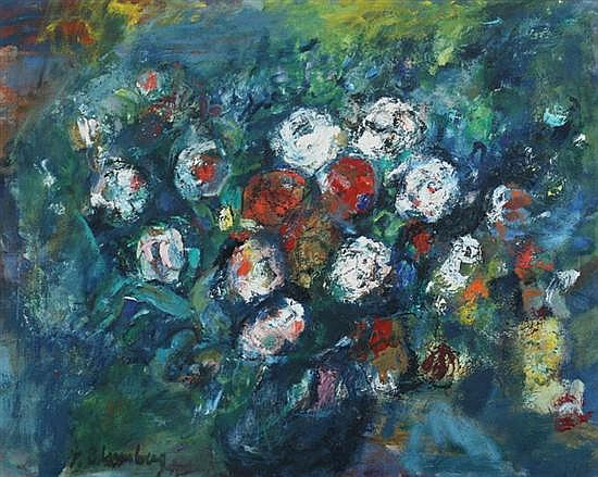 YULI BLUMBERG (American, 1894-1964). VASE OF FLOWERS, signed lower left. Oil on canvas.
