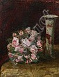 GUSTAVE VANAISE (Belgian, 1854-1902). BOUQUET OF PINK ROSES, signed lower left. Oil on panel., Gustave Antoine Marie Vanaise, Click for value