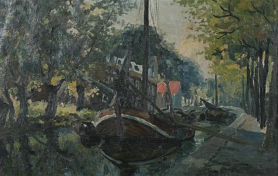 WILLEM DELSAUX (Belgian, 1862-1945). BATEAU AU CANAL, signed lower right. Oil on canvas.