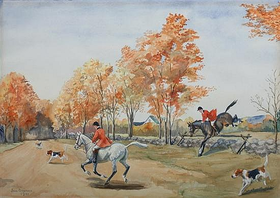 JEAN BOWMAN (American, 1917-1994). FOX HUNTERS, signed and dated 1941 lower left. Watercolor.