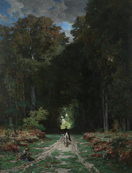 JULES LAURENS (French, 1825-1901). EQUESTRIENNE ON WOODED LANE, signed and dated 1868 lower right. Oil on canvas.