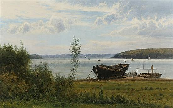 ANTON ERIK CHRISTIAN THORENFELD (Danish, 1839-1907). FROM SVENDBORG SOUND, signed and dated 1884 lower left; also signed, dated and loc