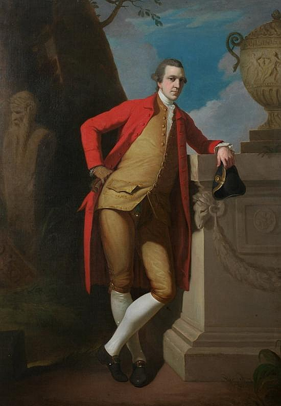 DAVID ALLAN (Scottish, 1744-1796). PORTRAIT OF A GENTLEMAN, FULL LENGTH, IN A RED COAT, BUFF WAISTCOAT AND BREECHES, HOLDING A BLACK TR