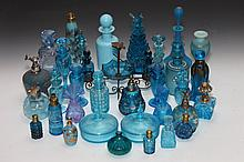 COLLECTION TURQUOISE GLASS SCENT AND OTHER BOTTLES AND BOXES. - 8 1/4 in. high, tallest.