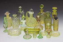 COLLECTION CHARTREUSE AND VASELINE-TYPE GLASS SCENT AND OTHER BOTTLES AND SMALL DISHES. - 6 3/4 in. high, tallest.