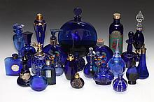 COLLECTION COBALT GLASS SCENT BOTTLES. - 7 1/4 in. high, tallest.