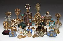 COLLECTION FRENCH AND OTHER GILT-METAL MOUNTED SCENT BOTTLES AND DRESSER OBJECTS. - 8 3/4 in. high.