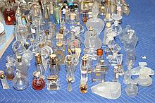 COLLECTION VINTAGE AND CONTEMPORARY GLASS SCENT AND OTHER BOTTLES. . - 9 1/2 in. high, tallest.