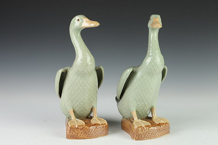 PAIR CHINESE CELADON PORCELAIN FIGURES OF DUCKS. - 12 in. high.
