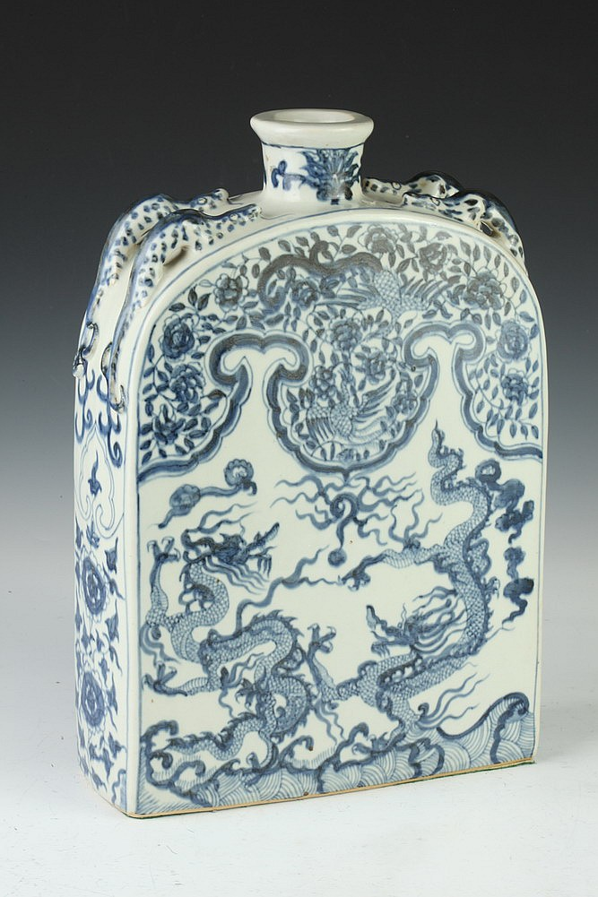 CHINESE BLUE AND WHITE PORCELAIN DRAGON AND PHOENIX PILGRIM FLASK. - 15 in. high.