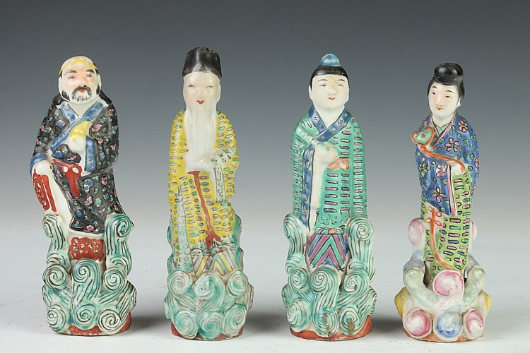 FOUR CHINESE FAMILLE ROSE PORCELAIN FIGURES OF IMMORTAL, Huang Xiang Ji maker's mark. - Largest: 5 1/2 in. high.