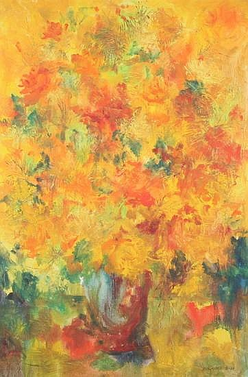 HONEY W. KURLANDER (American, born 1929). ORANGE AND RED FLOWERS, Oil on canvas. Signed lower right and dated 8-64.