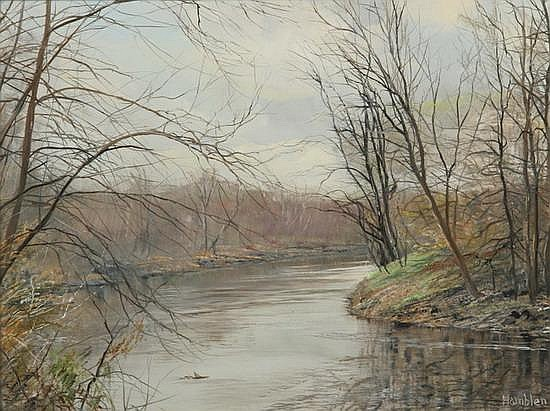 ROBERT HAMBLEN (American, 20th century). RUSTLE OF SPRING, Oil on board. Signed lower right.