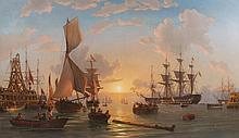 CHARLES HENRY SEAFORTH (British, 1801-1853). A NAVY CONVOY PREPARING TO DEPART FROM PLYMOUTH, oil on canvas.
