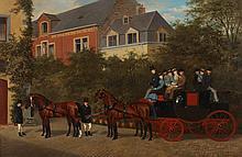 WILLIAM HENRY WHEELWRIGHT (British, 1857 - 1897). COACHING SCENE, oil on canvas.