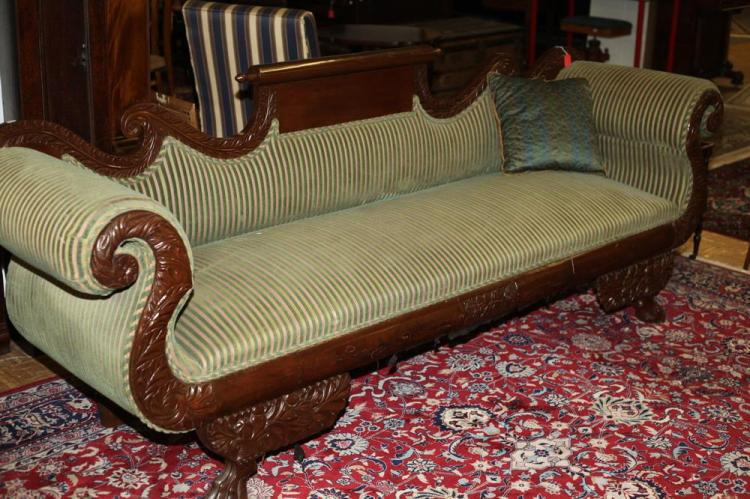 American Empire Style Sofa With Green Gold Stripes 19th 20t