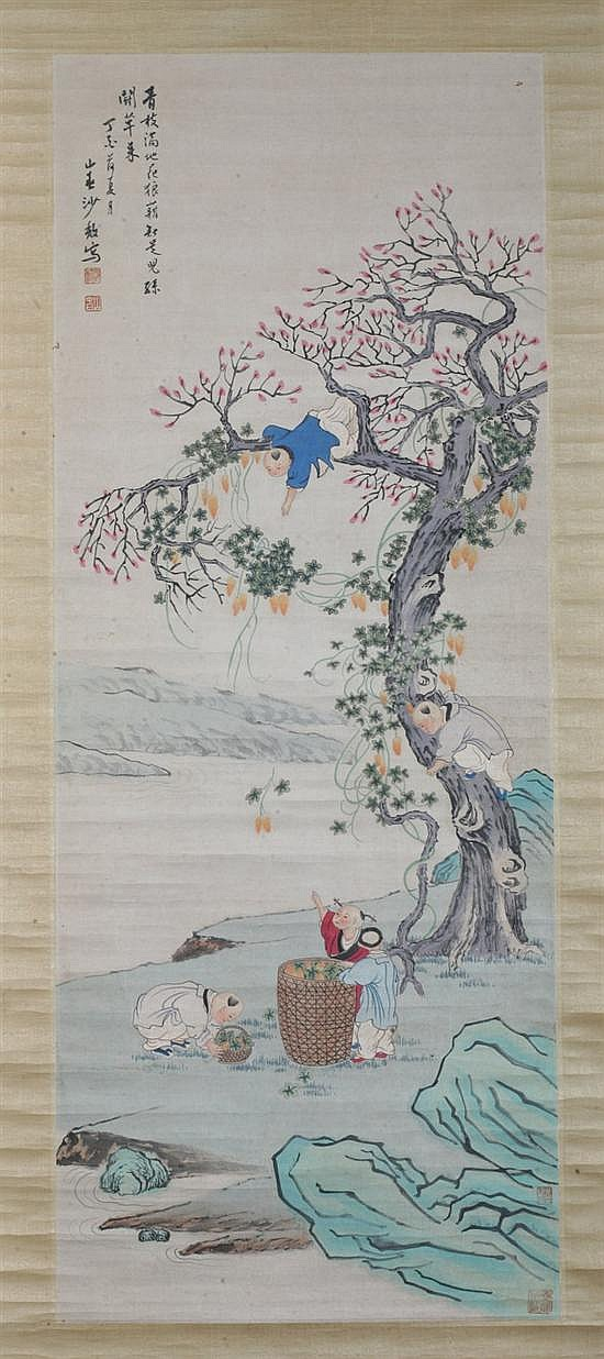 AFTER SHA FU (Chinese, 1831-1906). Children at play, ink and color on paper scroll, signed and sealed.