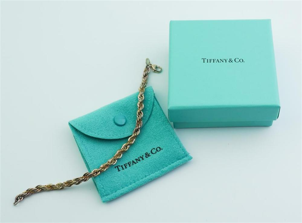 TIFFANY & CO. 18K YELLOW GOLD AND STERLING SILVER ROPE BRACELET,